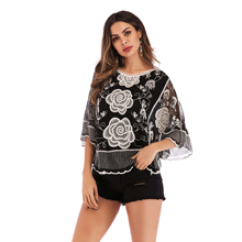 M&DE Summer T-shirts Women Shirts Black White Butterfly Flower Skirts Three-quarter Bat sleeve O-neck Girls Clothing T-shirts black pleated design round neck bat sleeves t shirts