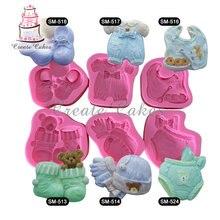 6 stücke Baby Kleidung Kuchen Silikonformen Silikonform Fondant Kuchen Silikonform Cookie Silikonform Kuchen Design SM-baby-02