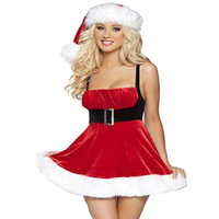 Women Sexy Christmas Festival Cosplay Costumes Female Red Corduroy Halloween Uniform Role Playing For Adult Santa