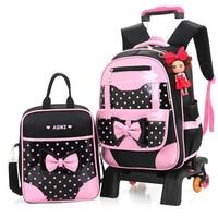 Hot Sale 2016 New Brand Girls Wheeled Backpack Set Cute Bow Children Trolley School Bag Set