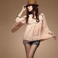 Free Shipping Ladies 2013 Fashion Pearl Stone V Neck Full Sleeve Blouse Beading Flare Sleeve Chiffon