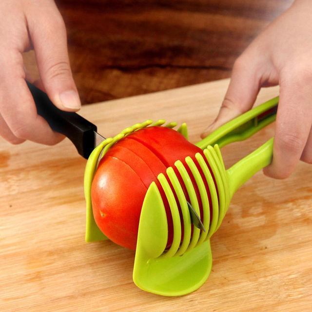 1pc Tomato Slicer Plastic Fruits Cutter Tool Perfect Slicer Tomato Potato Onion Shreadders Slicer Lemon Cutting Holder