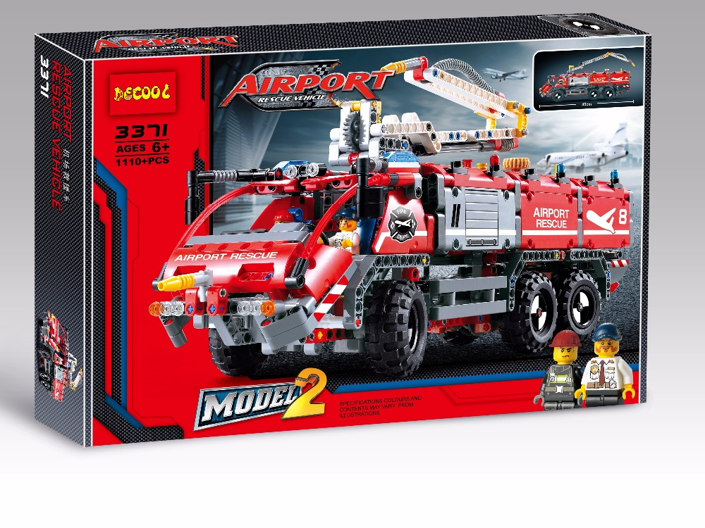 2 Model Decool city 3371 Airport rescue vehicle 1110pcs technic Fire engine Toy building blocks bricks Fit with lego lepin 20055 new lepins technican technics airport fire rescue vehicle 2in1 building block model truck trailer bricks toy collection for kids