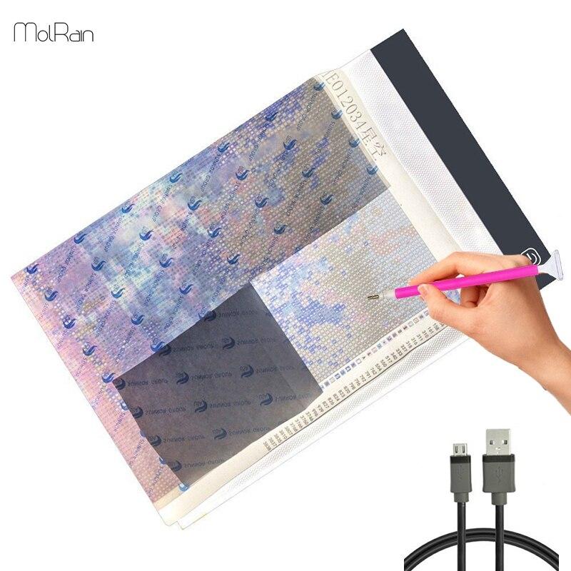 3.5mm A4 LED Lumière Tablet Pad Ultra-Mince Troisième Vitesse Gradation diamant Broderie Outil Kits Diamant Peinture Appliquer à USB Plug outil