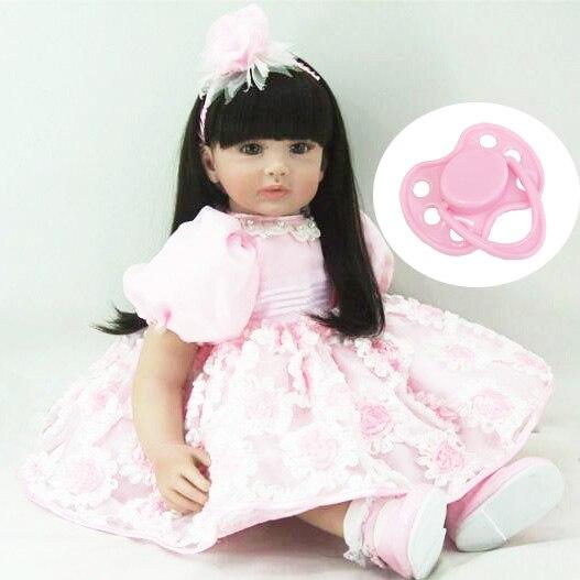 См 60 см Силиконовая виниловая Кукла реборн для девочек игрушки Реалистичные 24 дюймов принцесса малыши куклы с платьем мода подарок на день ...
