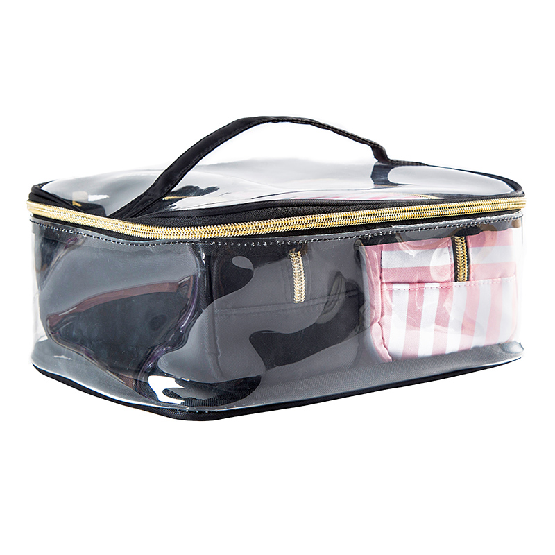 3Pcs Transparent PVC Cosmetic Bag Waterproof Women's Travel Bags Clear Wash Organizer Pouch Beauticians Makeup Case Accessories mihawk color transparent pvc cosmetic bag korean style markup bags travel multifunctional accessories women s wash accessories