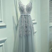 Сексуальное вечернее платье с v-образным вырезом, Robe De Soiree, высокое качество, Серый Тюль, вечерние платья с аппликацией, настоящая фотография, vestido de festa