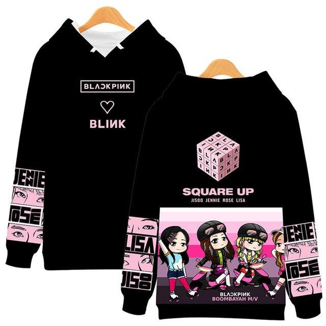 fotos oficiales 3174b b3b08 Sudadera con capucha blackpink para mujer Kpop sudadera Hip Hop estampado  sudaderas ropa Pullover mujeres niñas
