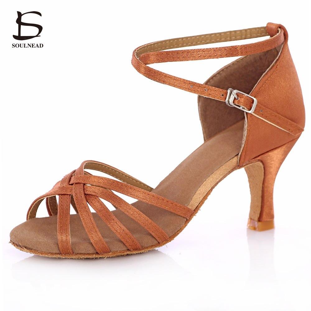 Women Profession Dance Shoes Wide Soft Heel Ballroom Dancing Shoe Slipper Tango/Salsa 5cm/7cm Heel Wholesale Satin Ladies Girls