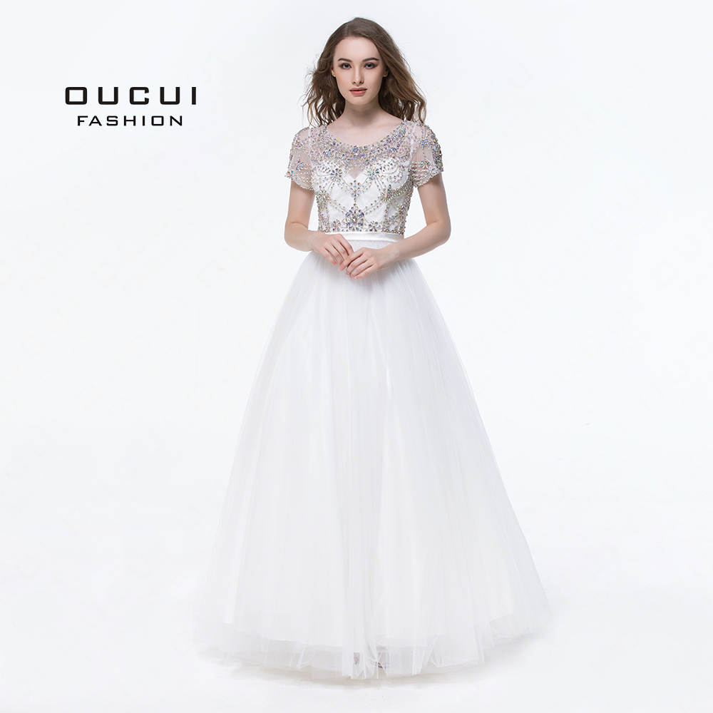 Real Photos Ivory Color Crystal Short Sleeves Ball Gown Formal Long Prom Dress Evening Party OL102911