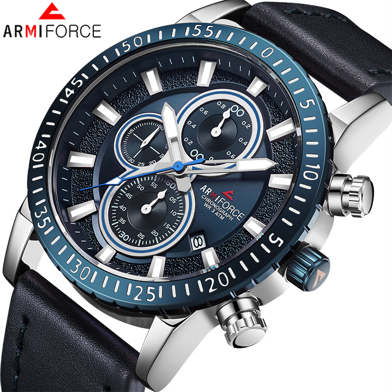 ARMIFORCE Mens Watches Top Brand Luxury New Fashion Business Quartz Watch Men Leather Waterproof Sports Watches Relogios
