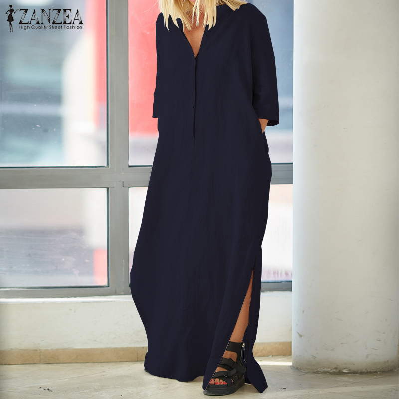 001cf0795 2019 ZANZEA Summer Elegant Women Deep V Neck Casual Loose Split Hem Long  Vestido Solid Party