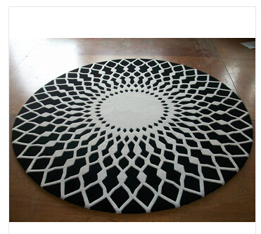 Wool round large area rugs luxury prayer carpet modern - Black and white living room rug ...