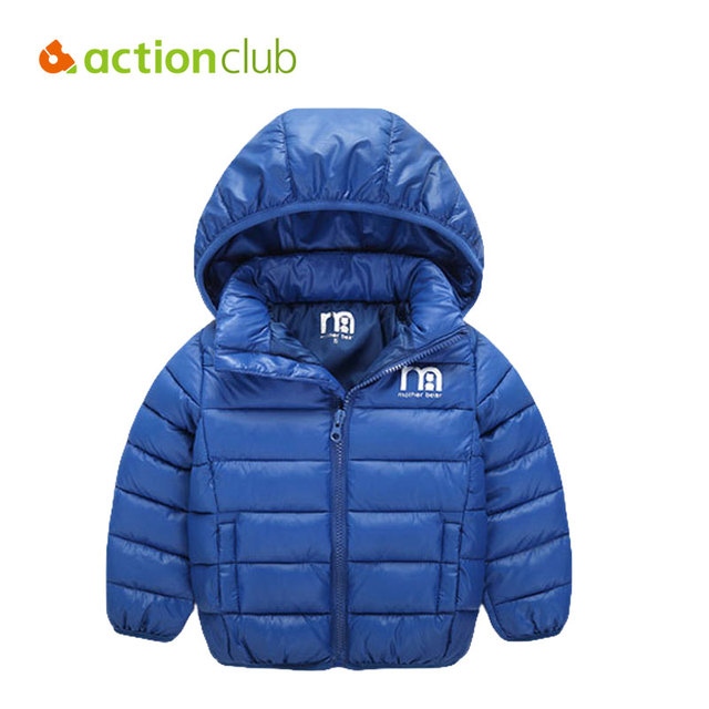 Actionclub Baby Girls Boys Winter Clothes Warm Thicken Jacket Coat Kids Solid Winter Jacket Zipper Hooded Children Outerwear