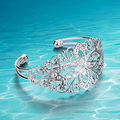 Sunshine fashion jewelry delicate style hollow out flowers. 925 sterling silver bangle bracelet for women multi layer opening