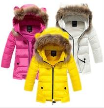 2016 детский пуховик длинные участки теплый пуховик девушки зимнее пальто и пиджаки девушки зимняя куртка пуховик для девушка