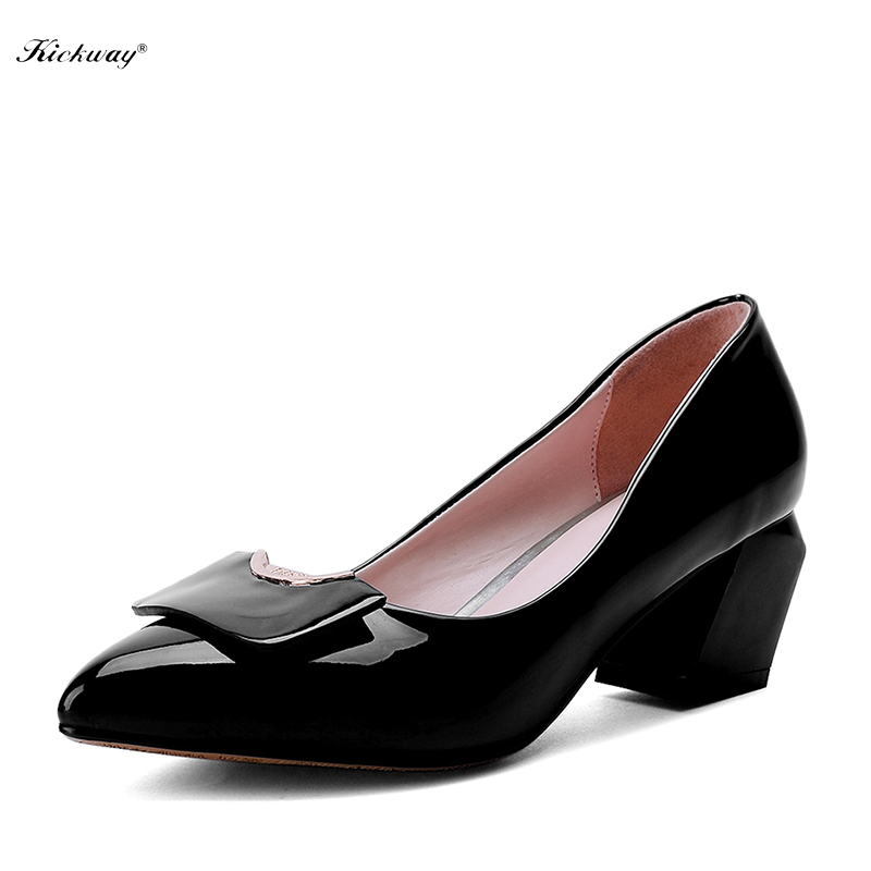 Kickway Ladies mid heel shoes 2017 Spring women shoes big plus size 34-43 pointed toe thick heel sweet dress shoes women 557 new 2017 spring summer women shoes pointed toe high quality brand fashion womens flats ladies plus size 41 sweet flock t179