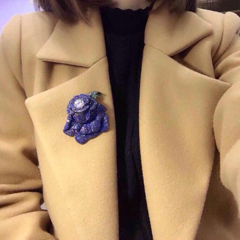Qi xuan_grande broche Rose S925 en argent Sterling stéréo incrusté Zircon Imitation pierre bleue broche atmosphère exagérée