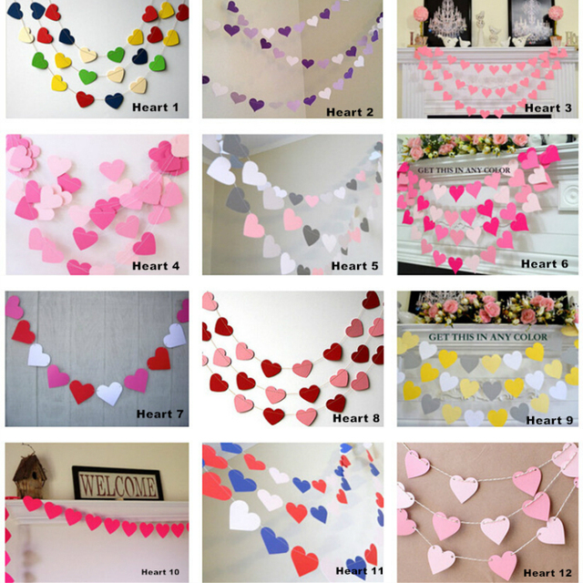 1 M 1set Heart Shaped Cardboard Pull Flowers Wedding Party