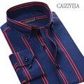CAIZIYIJIA 100 Cotton Striped Mens Shirt Long Sleeve Camisa Masculina High Quality Business Dress Shirt Brand Clothing Slim Fit