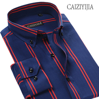CAIZIYIJIA 100 Cotton Striped Mens Shirt Long Sleeve Camisa Masculina High Quality Business Dress Shirt Brand Clothing Plus Size