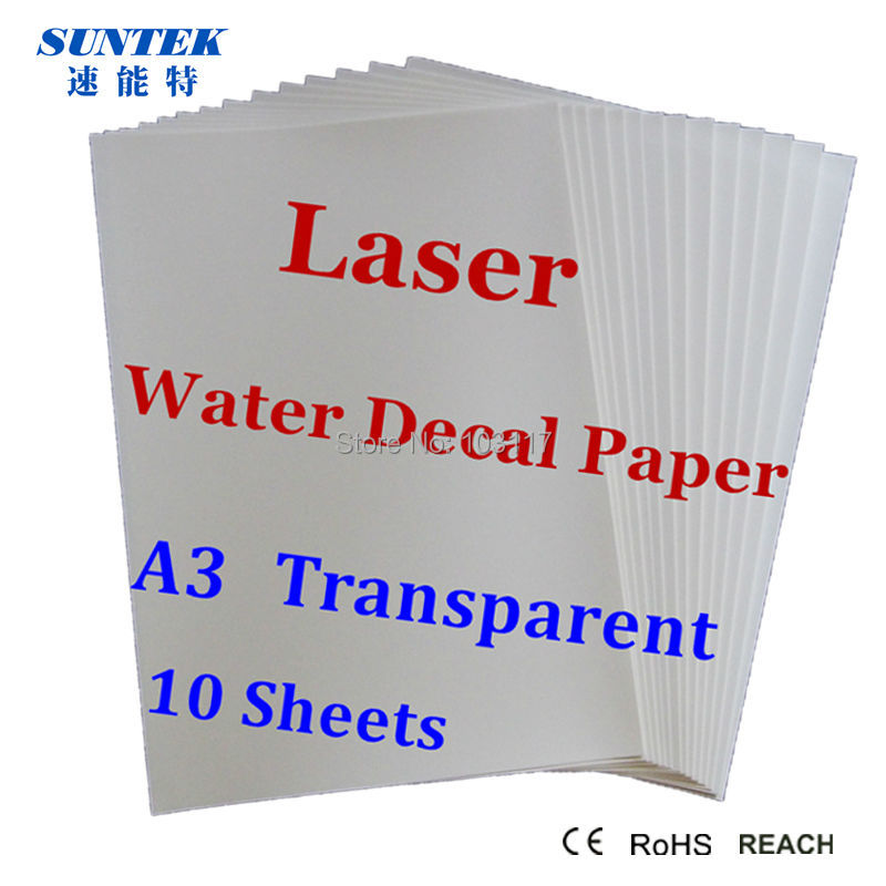 5 Sheets LASER Water Slide Decal Paper CLEAR A4