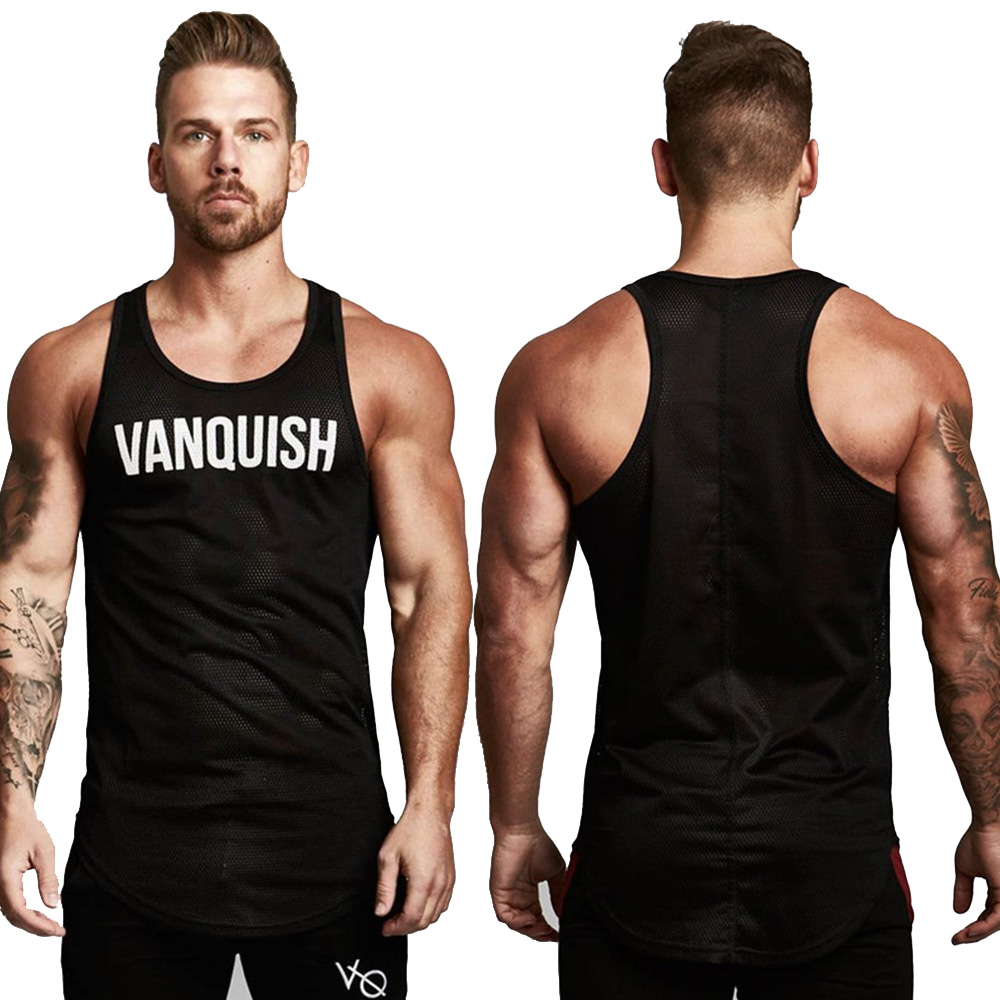 New Mens Sleeveless   Tank     Tops   Summer Print VQ Cotton Male   Tank     Tops   gyms Clothing Bodybuilding Undershirt Golds Fitness   tank     top