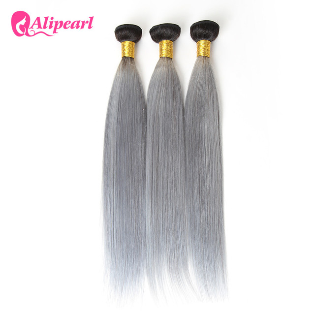 Alipearl Hair 1bgrey Ombre Brazilian Straight Hair Weave 3 Bundles