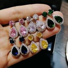 Pink Yellow Green Blue White Drop Earrings Fashion Women Earring Jewelry Accessories Pendientes Fine Crystal Jewellery