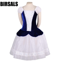 Adult Village Girl Professional ballet long tutu Blue White Peasant romantic Ballet tutu Ballerina Dress CostumeBT8953A