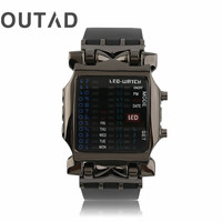 OUTAD 다기능 광장 다이얼 이진 LED 디지털 시계 고무 밴드 캐주얼 스포츠 야외 손목 시계 relogio masculino 2017