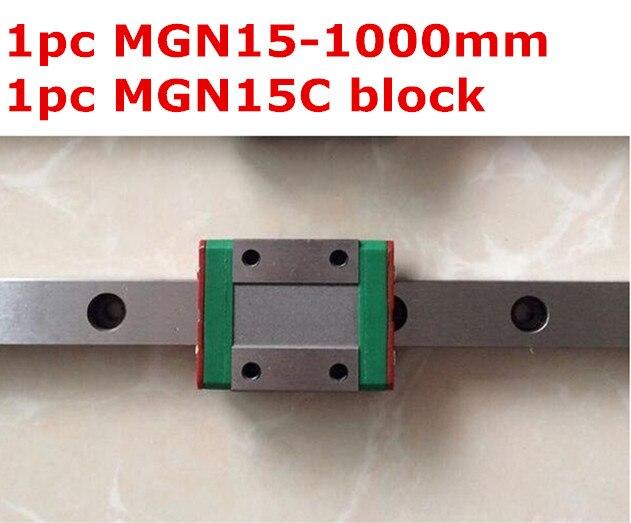 1pcs MGN15 -1000mm linear rail + 1pcs MGN15C carriage 1pcs mgn15 l1000mm linear rail 1pcs mgn15c carriage