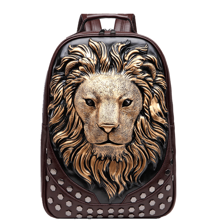 3D Embossed Lion Head Studded Rivet Gother Men Backpack Women Leather Soft Travel punk rock Backpack