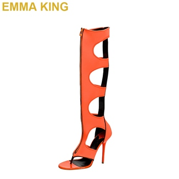 2019 Sexy Orange Knee High Boots Front Zipper Gladiator Sandals Fashion Summer Shoes Women High Heels Sandals Big Size 35-43