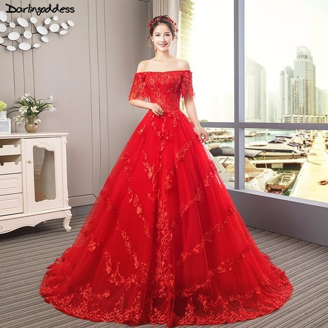 Robe De Mariee Plus Size Red Wedding Dress Ball Gown Lace Applique ...