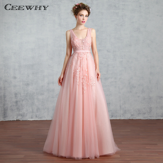 CEEWHY Embroidery Sexy Backless Formal Evening Gown Floor-Length A-Line  Evening Party Prom Dresses vestido de festa longo 2016 edd02a970fff