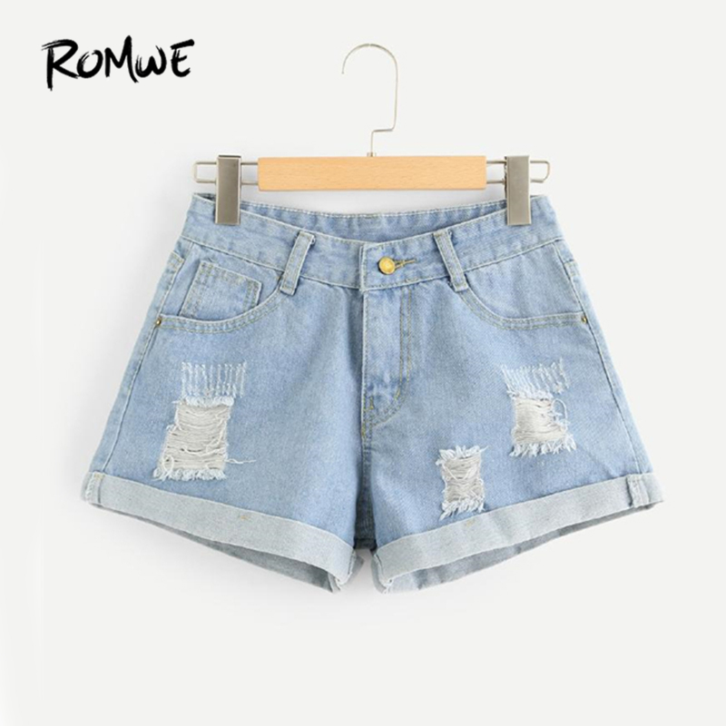 ROMWE Ripped Denim Shorts Blue Mid Waist Button Fly Jean Shorts Women Summer Streetwear Dual Pockets Vintage Shorts