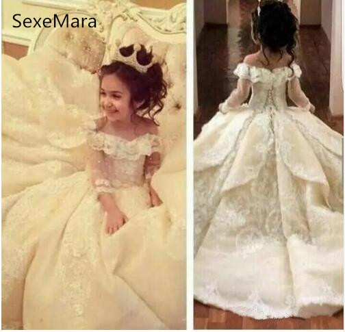 Sweet Off-shoulder Neck Flower Girl Dresses Special Occasion For Weddings Floor Length Kids Pageant Gowns Communion Dress Платье