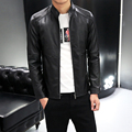 The new PU leather men 's leather jackets men' s collar Slim Korean skin jacket motorcycle casual jacket wave