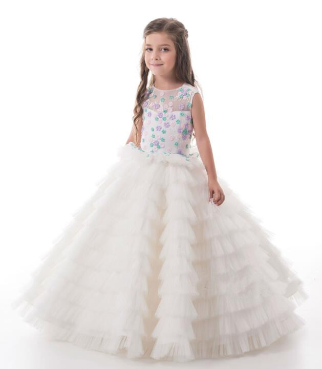 2018 beautiful white first communion dresses for little girl with lace appliques layered tulle ball gown kids prom dress