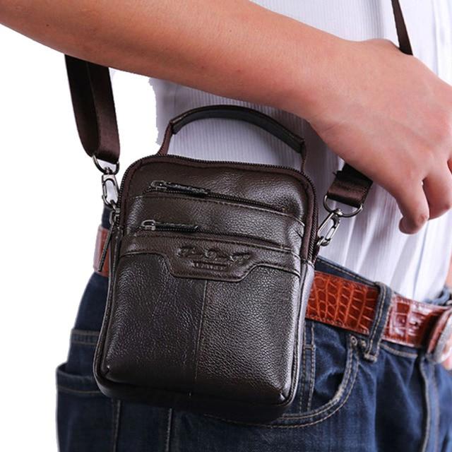 Men's Genuine Leather Messenger Shoulder Cross Body Bag Pouch Waist Fanny Belt Hip Bum Male Tote Multipurpose HandBag Purse