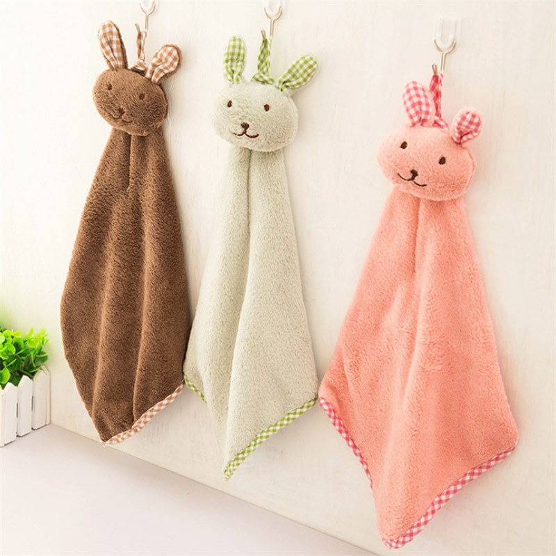 1 PC Cartoon Rabbit Polyester Towel Dry Hands Cloth Dishcloth Kitchen Oil Cleaning Accessories Dish Tools Washing