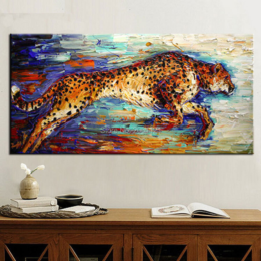 Leopard Wall Art Home Decor ~ Handpainted abstract modern wall art the beast cheetah