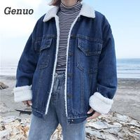 Genuo 2018 Autumn Winter Fleece Denim Cotton Coat Short Wool Coat Tops Jackets Mujer Veste Femme Bomber Jacket Women ladies