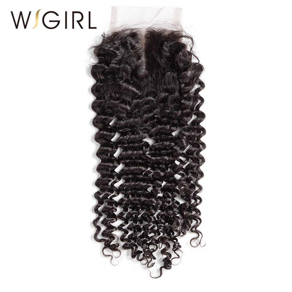 Wigirl Hair Brazilian Lace Closure 4*4 Deep Wave Middle Part Style With Baby Hair 100% Human Remy Hair Bundles-in Closures from Hair Extensions & Wigs    1