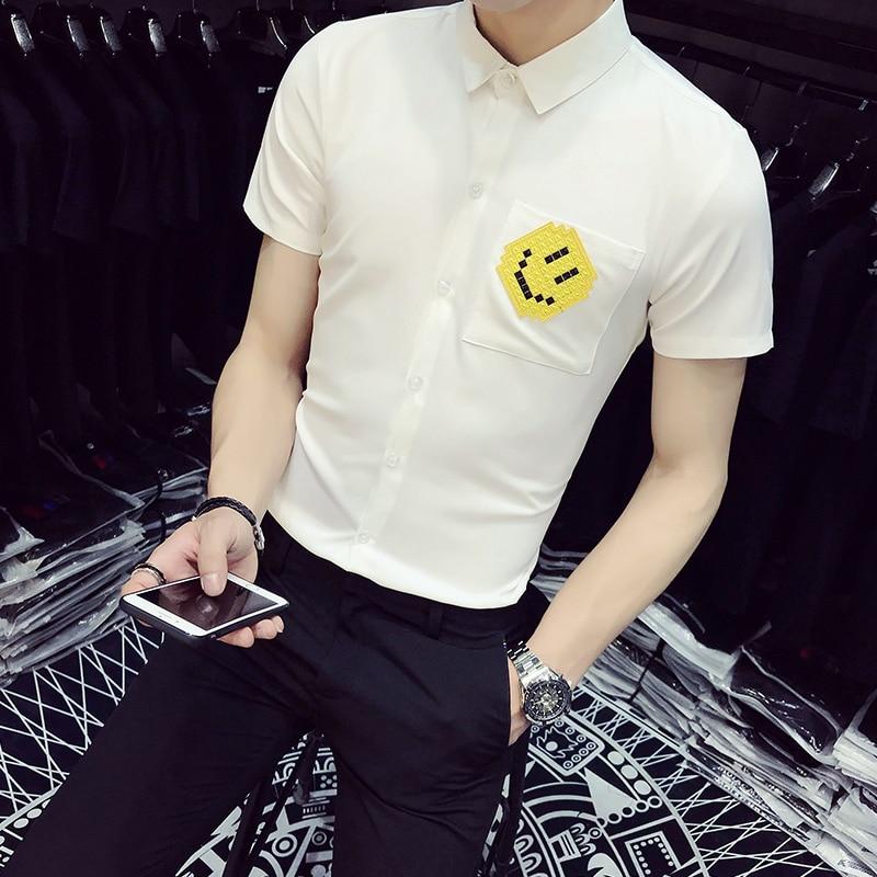 Korean Summer Men Shirt 2018 Brand Slim Fit Smiley Face Short Sleeve Work Shirts Casual Plus Size Business Social Shirt Men 5XL