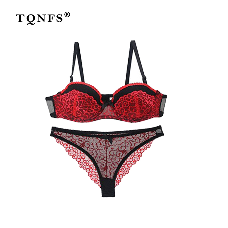3fdc1d1ad9b4 TQNFS Sexy AB Push Up Half Cup Lingerie Set Women Bra Set Lace Hollow Out  Underwear And Panty Set Fashion Bra Brief Sets