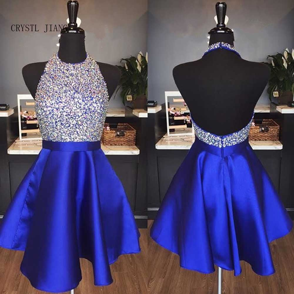 CRYSTAL JIANG 2018 Robe cocktail Halter Heavy Beading Roayl Blue Satin Sexy Open Back Short Mini Cocktail Dresses