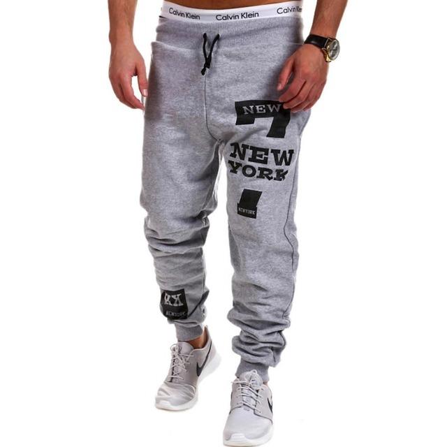 2016 impresión de la letra joggers Harem Pantalones casual Hombres loose fit Tobillo Anillados Pantalones ropa deportiva Masculina de algodón sudor pantalones de chándal hombres