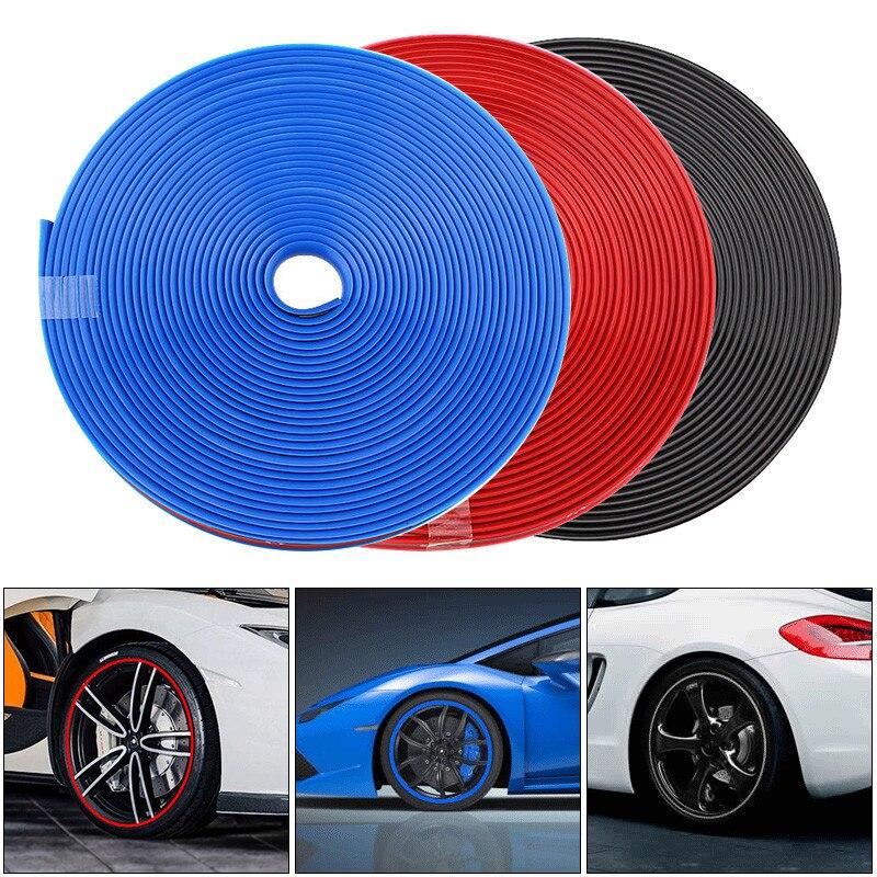8 m de rueda de coche Protector Centro etiqueta borde guardia tira de goma Anti raspado Auto del coche decorativos de estilo para 13 ~ 22 pulgadas neumáticos